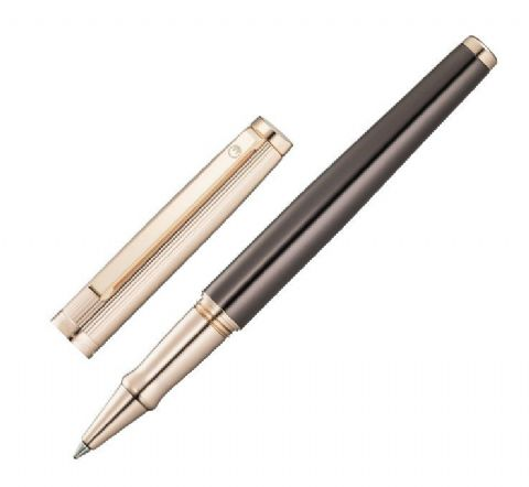 Sterling Silver Waldmann Rollerball Pen - Tuscany - Chocolate Lacquer and 18 CT Gold Plate
